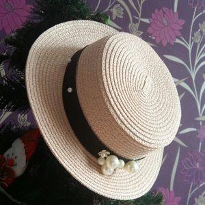 NEW Natural Panama Fedora Hat  Pearl Band